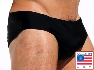 Model in black Rufskin Lap Metallic Shine Nylon Sunga Swim Brief