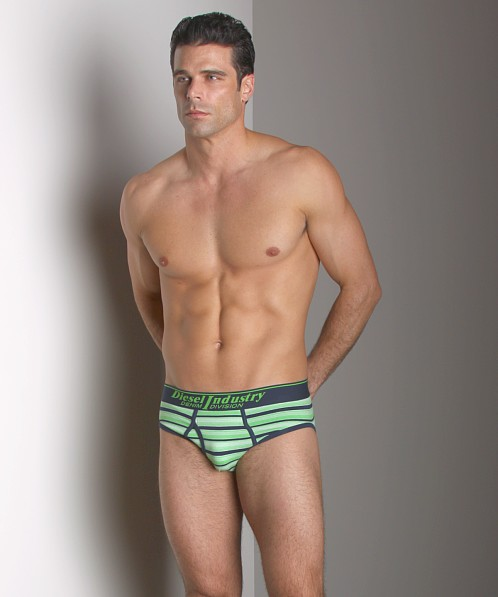 Diesel Striped Blade Brief Green