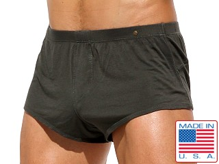 Model in dark army Rufskin Alpine Stretch Rayon Boxer Briefs