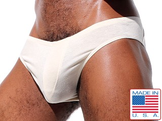 "Model in natural Rufskin Wild Stretch Rayon ""Cheeky"" Briefs"