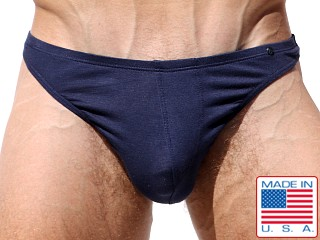 Model in denim blue Rufskin Stream Stretch Rayon Thong