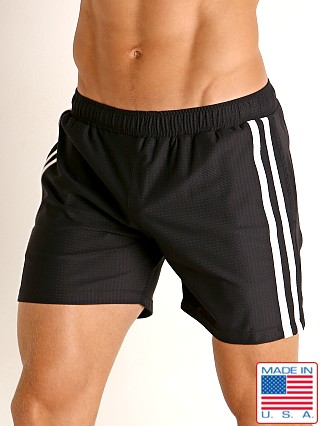Model in black/white LASC Performance Mesh Active Shorts