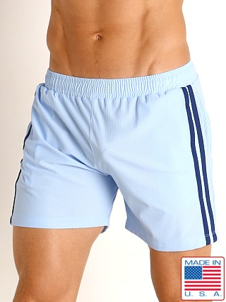 Model in baby blue/navy LASC Performance Mesh Active Shorts