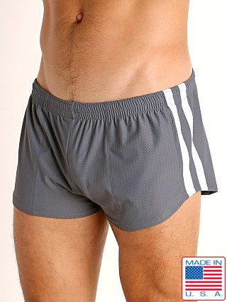 Model in grey/white LASC Performance Mesh Running Shorts