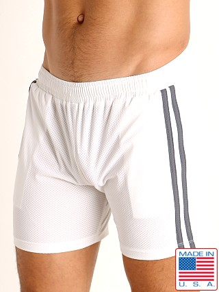 Model in white/grey LASC Performance Mesh Active Shorts