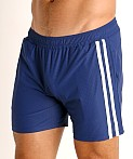 LASC Performance Mesh Active Shorts Navy/White, view 3
