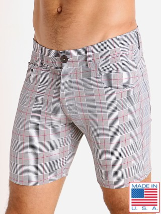Model in grey/red LASC London Plaid 5-Pocket Shorts