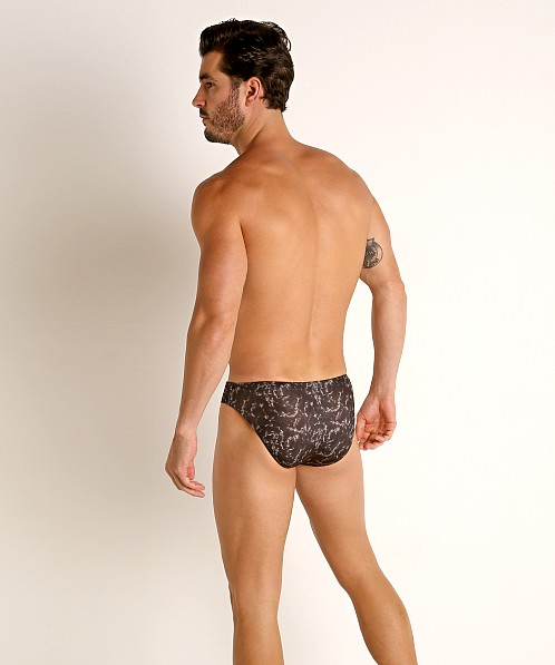 "Jack Adams Marble 1"" Swim Brief Black Print"