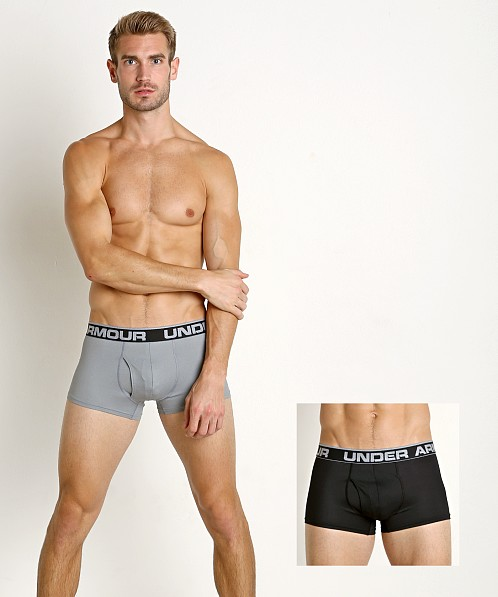 "Under Armour Tech Mesh 3"" Boxerjock 2-Pack Black/Steel"