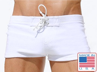 Rufskin Charles Loop Terry Lace Tabs Swim Trunk White