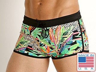 LASC American Square Cut Swim Trunks Jungle Leopard