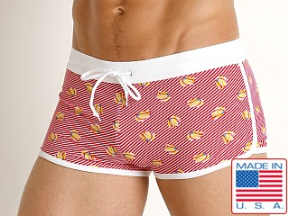 Model in banana LASC American Square Cut Swim Trunks