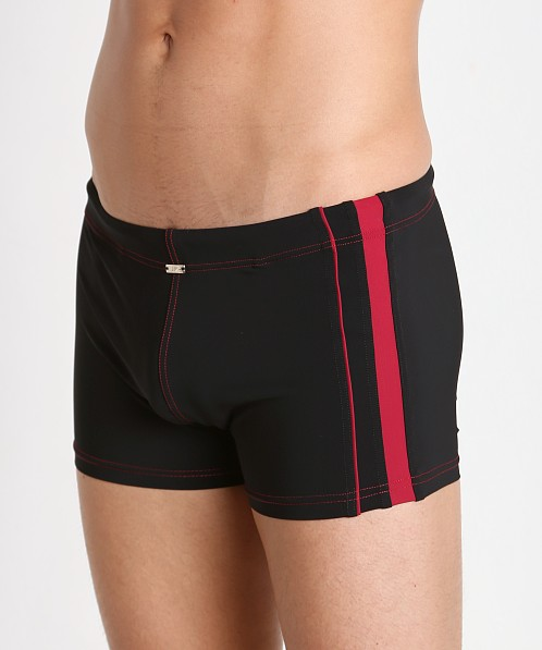 JM Waves Classic Fitted Lycra Swim Trunk Black