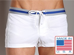 LASC Varsity Mesh Swim Trunks White