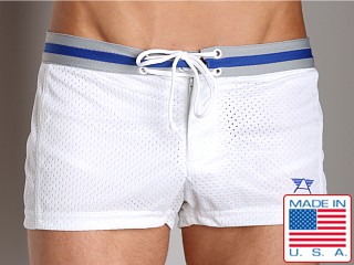 LASC Varsity Nylon Mesh Swim Trunks White