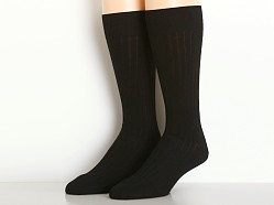 Calvin Klein Mercerized Cotton Rib Crew Dress Socks Black