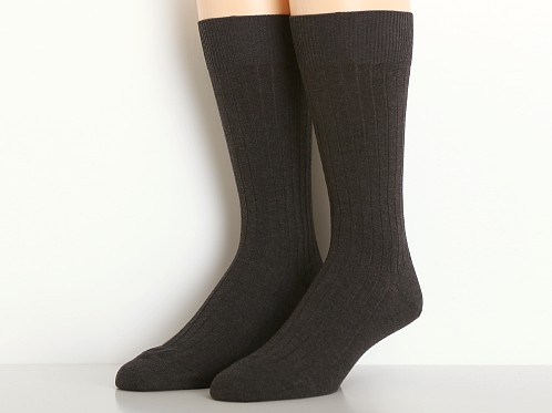 Calvin Klein Mercerized Cotton Rib Crew Dress Socks Graphite