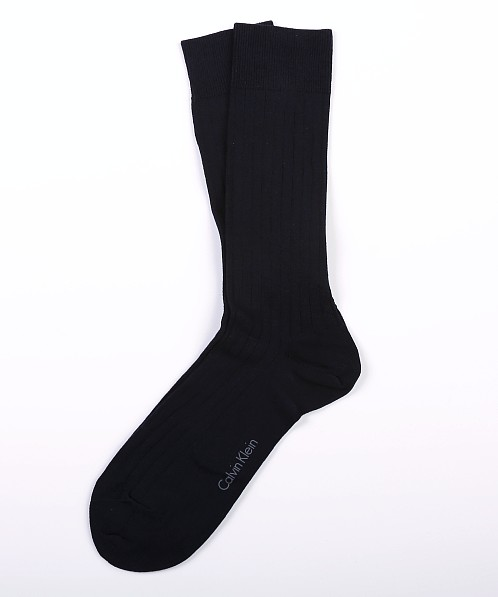 Calvin Klein Mercerized Cotton Rib Crew Dress Socks Navy