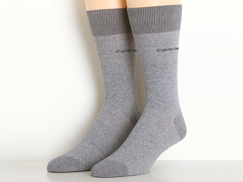 Calvin Klein Egyptian Cotton Crew Dress Socks Salt N Pepper