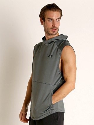 Model in pitch gray Under Armour MK-1 Lightweight Sleeveless Hoodie
