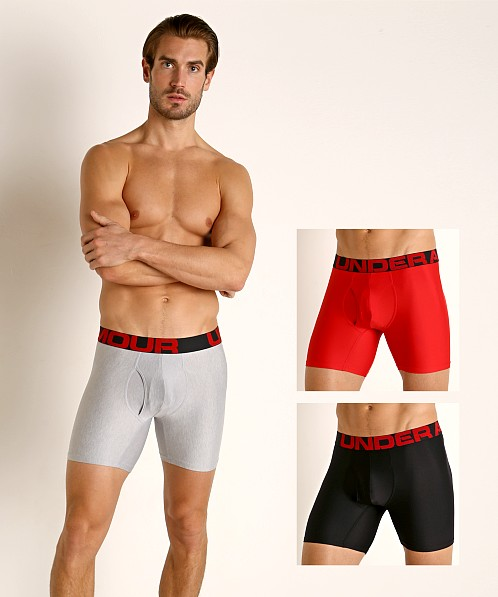 "Under Armour Tech 6"" Boxerjock 3-Pack Black/Mod Gray/Red"