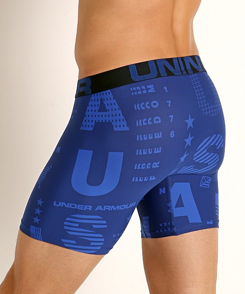 "Under Armour Tech Mesh Front 6"" Boxerjock American/Versa Blue"