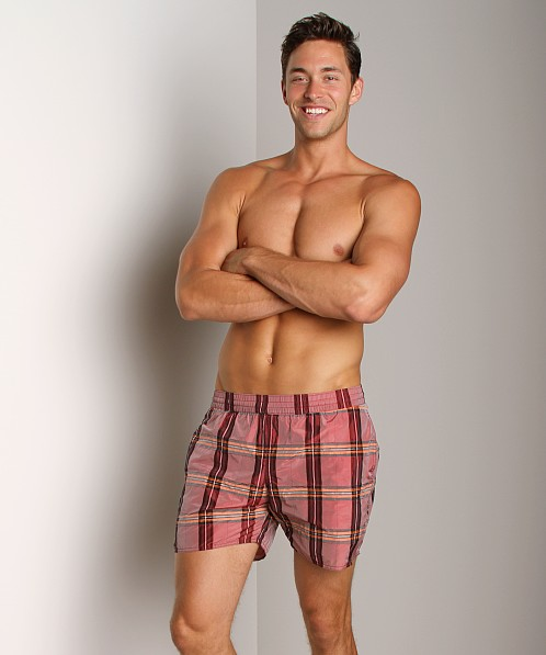Sauvage Italian Nylon Sun Plaid Shorts Red