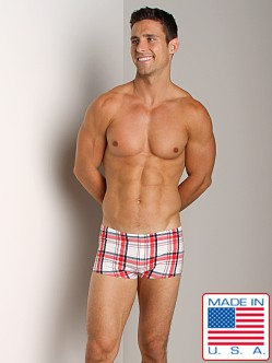 Sauvage Plaid Square Cut Swim Trunk White