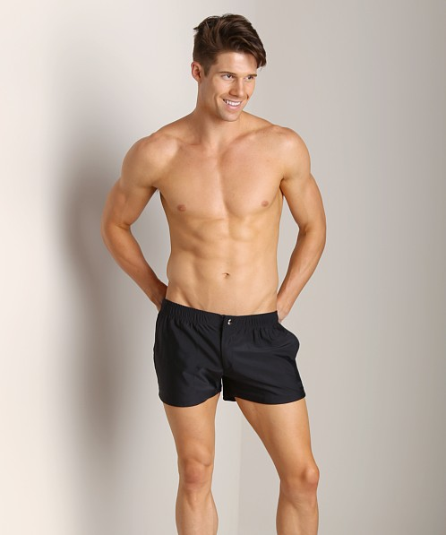 LASC Solid Nylon Swim Trunk Black