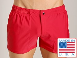 LASC Solid Nylon Swim Trunk Red