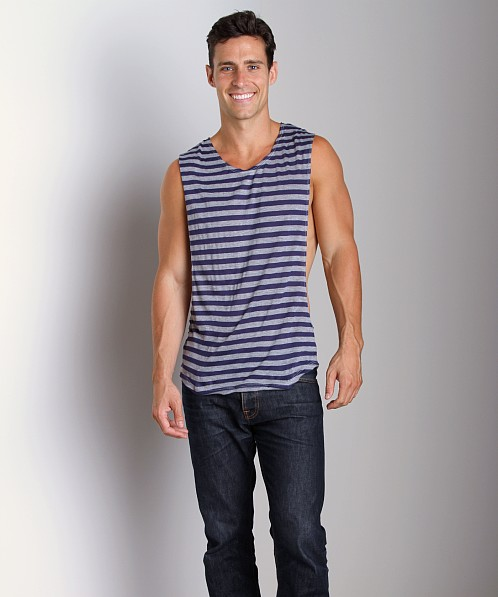 LASC Striped Deep Cut Out Tee Navy/Grey