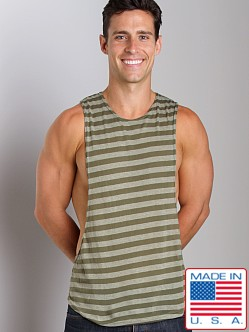LASC Striped Deep Cut Out Tee Grey/Green