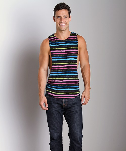 LASC Striped Deep Cut Out Tee Black/Pink
