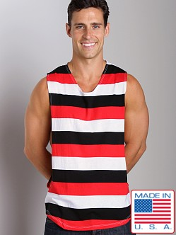 LASC Striped Deep Cut Out Tee Red/Black