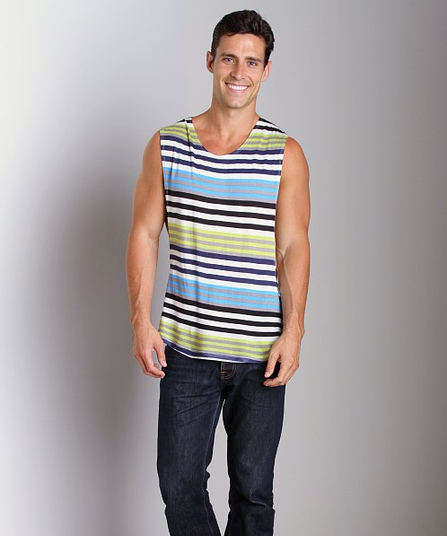 LASC Striped Deep Cut Out Tee Lime/Sky