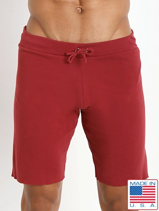 Model in cardinal Go Softwear 100% Cotton Cut-Off Short