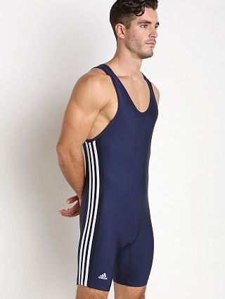 Model in navy/white Adidas 3 Stripe Wrestling Singlet