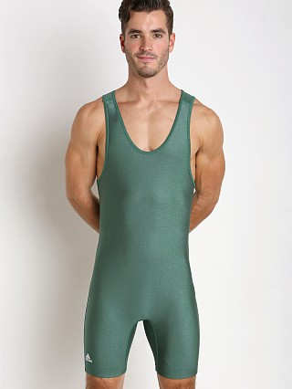 Model in hunter green Adidas Solid Wrestling Singlet