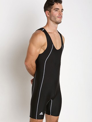 Model in black Adidas Side Panel Singlet
