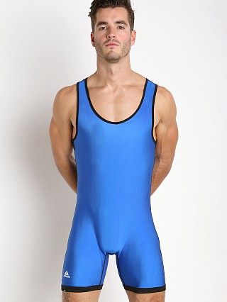 Model in red/royal Adidas Reversible Wrestling Singlet