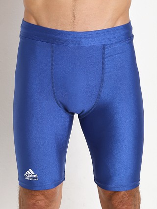 Model in royal Adidas Wrestling Compression Short