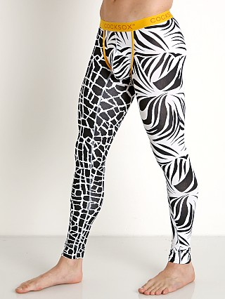 Model in giraffe/zebra Cocksox Enhancer Long John