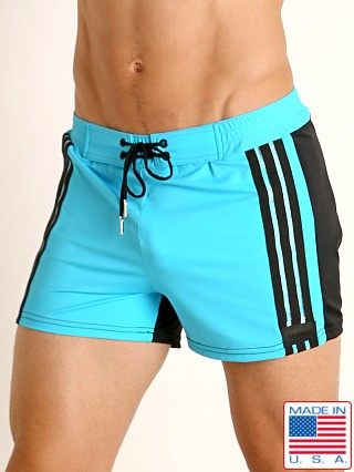 Sauvage Retro Stripes Swim Trunk Turquoise/Black