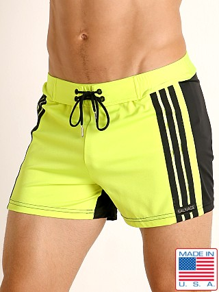 Sauvage Retro Stripes Swim Trunk Lime/Black