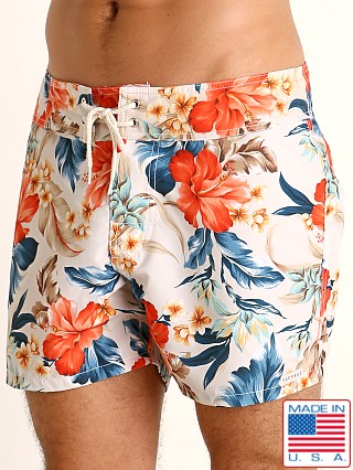 Model in white floral print Sauvage Short Surf Trunk