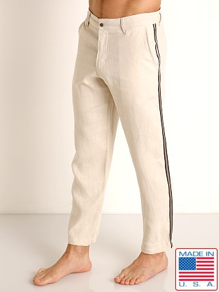 Model in natural tan Sauvage Linen Resort Pants