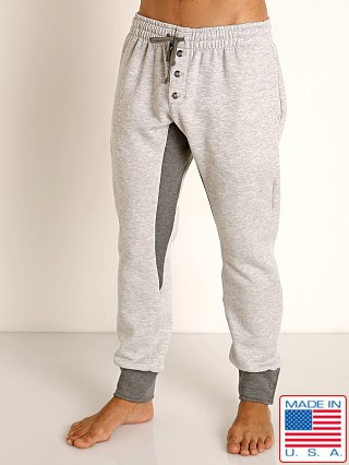 Model in grey/charcoal LASC Fleece Colorblock Drawstring Pant