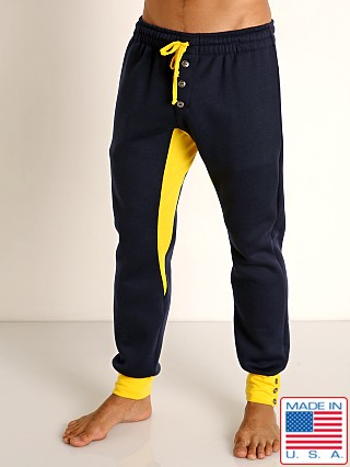 Model in navy/gold LASC Fleece Colorblock Drawstring Pant
