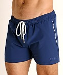 LASC Zippered Pockets Stretch Woven Gym Shorts Navy, view 3