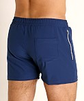 LASC Zippered Pockets Stretch Woven Gym Shorts Navy, view 4